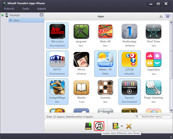 Xilisoft Transfert Apps iPhone
